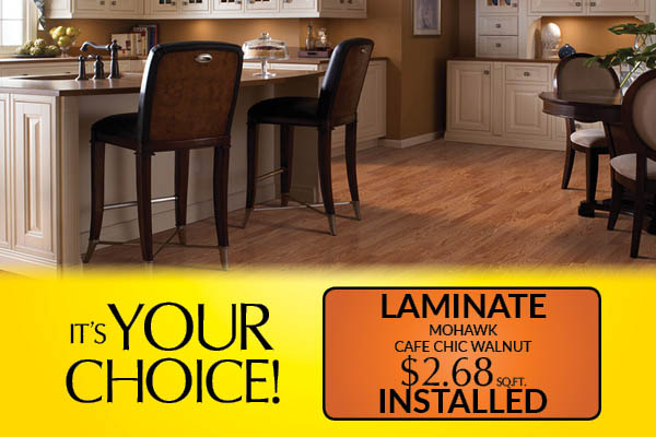Mohawk Chafe Chic Walnut laminate on sale just $2.68 sq.ft. installed!