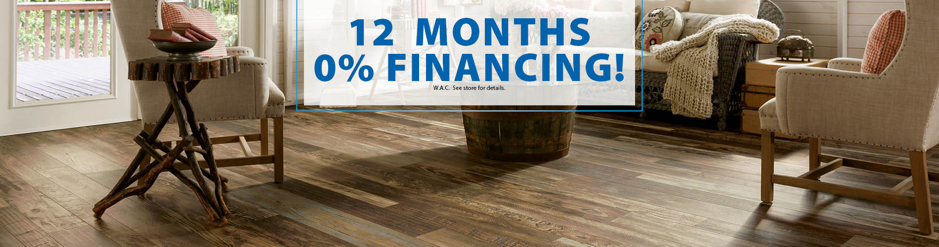 12 Months 0% Interest Financing at Anniston Floors To Go!