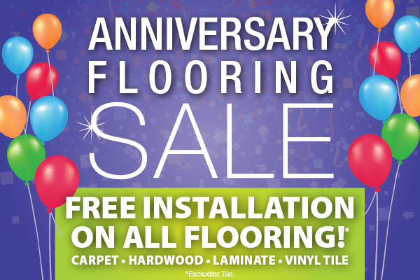 Free installation on all flooring (excluding tile) during the Anniversary Flooring Sale at Anniston Floors To Go!