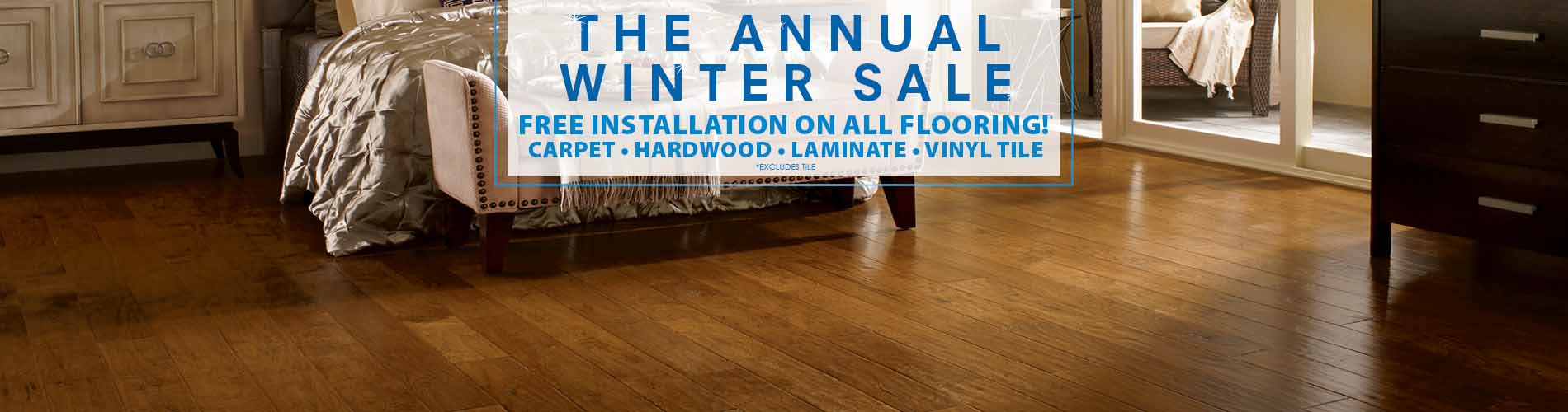 Free installation on all flooring!* carpet, hardwood, laminate, vinyl tile!  *Excludes tile.