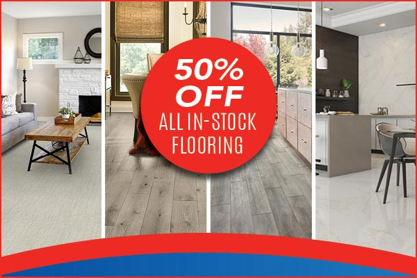 Save 50% off all our in-stock flooring at Floors to Go in Anniston