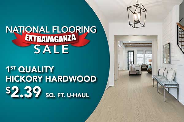1st quality hickory hardwood flooring on sale starting at $2.39 sq.ft. at Floors to Go in Anniston