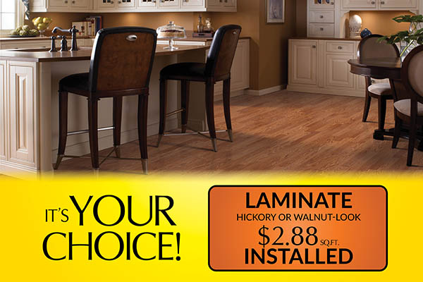 Laminate on sale now! Hickory or walnut-look installed for only $2.88 sq.ft. – Floors To Go in Anniston, Alabama
