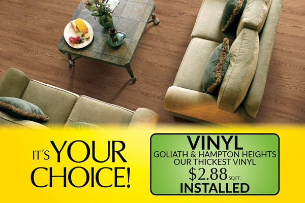Vinyl on sale now! Goliath & Hampton Heights installed for only $2.88 sq.ft. (our thickest vinyl) – Floors To Go in Anniston, Alabama